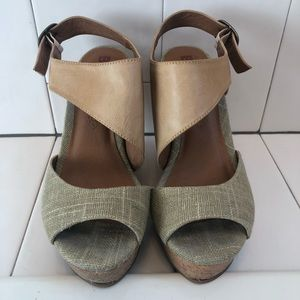 Tan Wedges with leather and burlap details